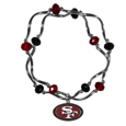 San Francisco 49ers Crystal Bead Bracelet - Officially licensed crystal bead bracelet with team colored crystal separated with chrome helix beads. The bracelet features a San Francisco 49ers charm with exceptional detail.