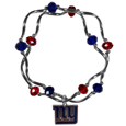 New York Giants Crystal Bead Bracelet - Officially licensed crystal bead bracelet with team colored crystal separated with chrome helix beads. The bracelet features a New York Giants charm with exceptional detail.