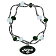 New York Jets Crystal Bead Bracelet - Officially licensed crystal bead bracelet with team colored crystal separated with chrome helix beads. The bracelet features a New York Jets charm with exceptional detail.