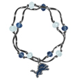 Detroit Lions Crystal Bead Bracelet - Officially licensed crystal bead bracelet with team colored crystal separated with chrome helix beads. The bracelet features a Detroit Lions charm with exceptional detail.