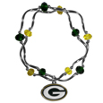 Green Bay Packers Crystal Bead Bracelet - Officially licensed crystal bead bracelet with team colored crystal separated with chrome helix beads. The bracelet features a Green Bay Packers charm with exceptional detail.