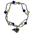 Los Angeles Rams Crystal Bead Bracelet - Officially licensed crystal bead bracelet with team colored crystal separated with chrome helix beads. The bracelet features a Los Angeles Rams charm with exceptional detail.