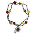Washington Redskins Crystal Bead Bracelet - Officially licensed crystal bead bracelet with team colored crystal separated with chrome helix beads. The bracelet features a Washington Redskins charm with exceptional detail.
