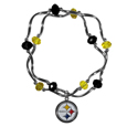 Pittsburgh Steelers Crystal Bead Bracelet - Officially licensed crystal bead bracelet with team colored crystal separated with chrome helix beads. The bracelet features a Pittsburgh Steelers charm with exceptional detail.