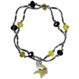Minnesota Vikings Crystal Bead Bracelet - Officially licensed crystal bead bracelet with team colored crystal separated with chrome helix beads. The bracelet features a Minnesota Vikings charm with exceptional detail.