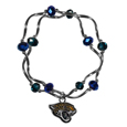 Jacksonville Jaguars Crystal Bead Bracelet - Officially licensed crystal bead bracelet with team colored crystal separated with chrome helix beads. The bracelet features a Jacksonville Jaguars charm with exceptional detail.
