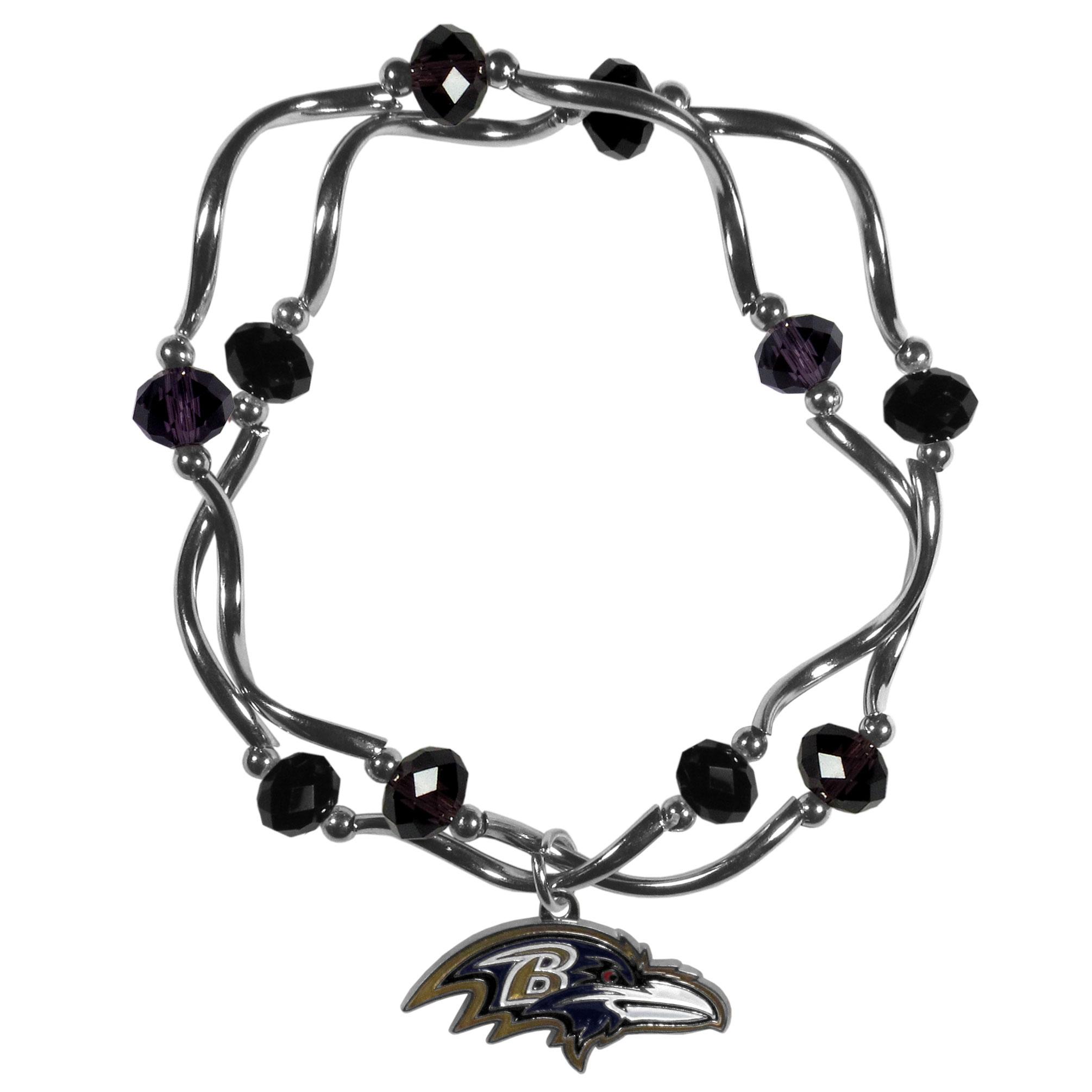 Baltimore Ravens Crystal Bead Bracelet