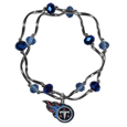 Tennessee Titans Crystal Bead Bracelet - Officially licensed crystal bead bracelet with team colored crystal separated with chrome helix beads. The bracelet features a Tennessee Titans charm with exceptional detail.