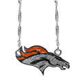Denver Broncos Crystal Logo Necklace - This is a must-have fan accessory with a delicately beautiful 16 inch silver plated chain and eye-catching, large Denver Broncos charm with tons of sparkling team colored crystals. The trendy look is finished with detailed team colors and the chain can be adjusted with a 2 inch extender. The bold look makes a statement on game day and the classic style is chic enough for everyday.