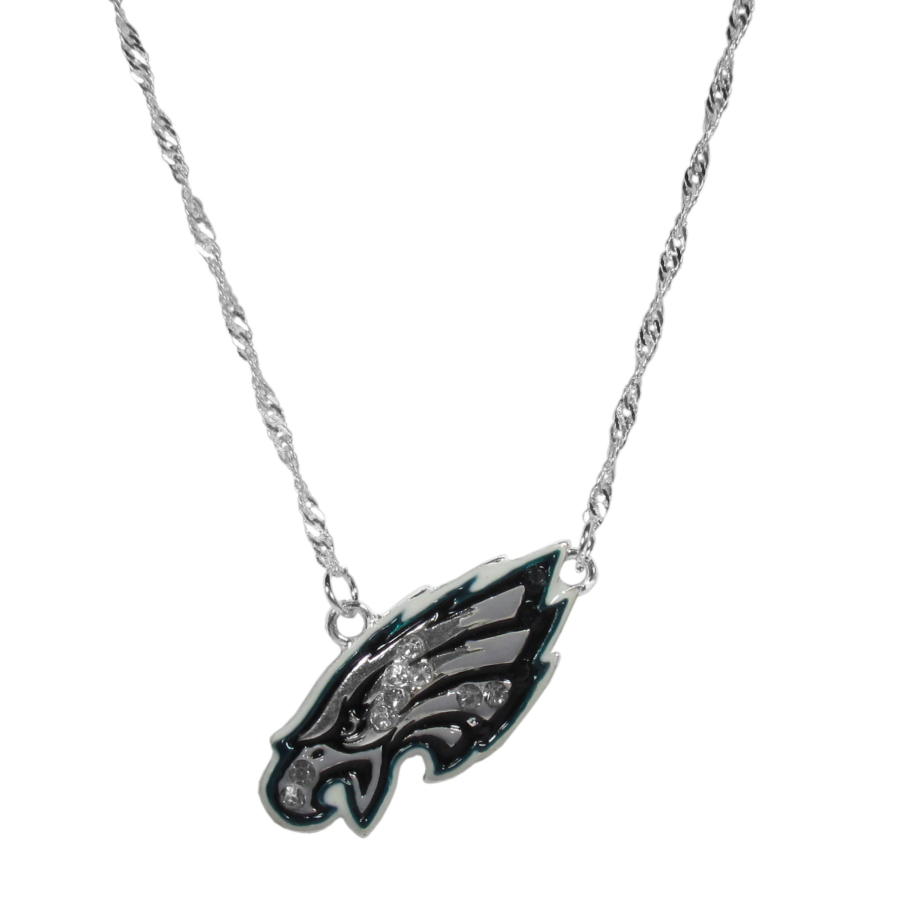 Philadelphia Eagles Crystal Logo Necklace - This is a must-have fan accessory with a delicately beautiful 16 inch silver plated chain and eye-catching, large Philadelphia Eagles charm with tons of sparkling team colored crystals. The trendy look is finished with detailed team colors and the chain can be adjusted with a 2 inch extender. The bold look makes a statement on game day and the classic style is chic enough for everyday.