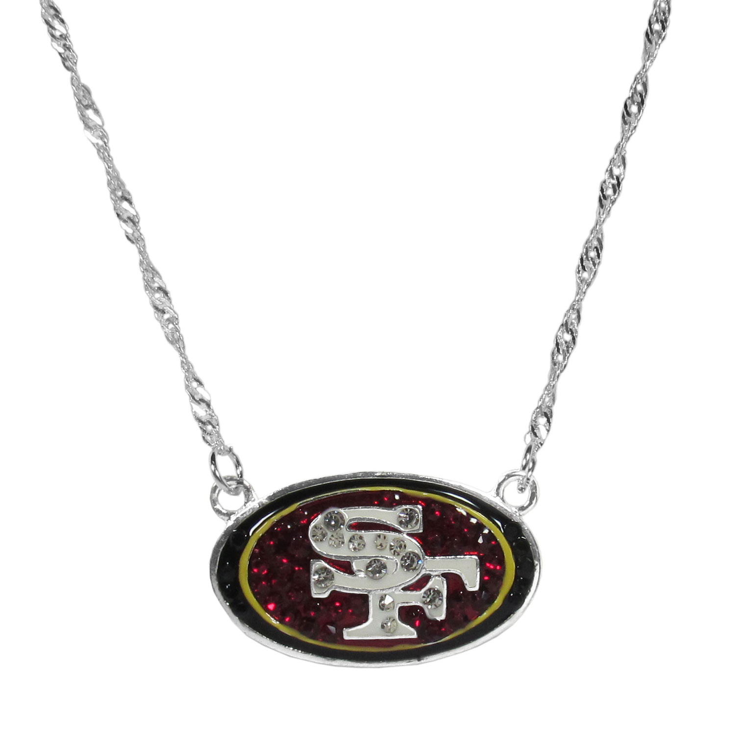 San Francisco 49ers Crystal Logo Necklace - This is a must-have fan accessory with a delicately beautiful 16 inch silver plated chain and eye-catching, large San Francisco 49ers charm with tons of sparkling team colored crystals. The trendy look is finished with detailed team colors and the chain can be adjusted with a 2 inch extender. The bold look makes a statement on game day and the classic style is chic enough for everyday.