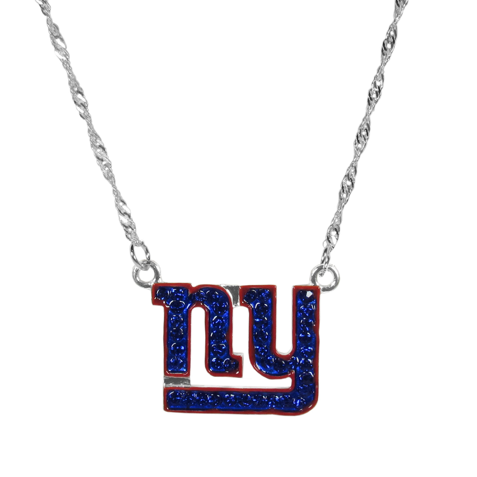 New York Giants Crystal Logo Necklace - This is a must-have fan accessory with a delicately beautiful 16 inch silver plated chain and eye-catching, large New York Giants charm with tons of sparkling team colored crystals. The trendy look is finished with detailed team colors and the chain can be adjusted with a 2 inch extender. The bold look makes a statement on game day and the classic style is chic enough for everyday.