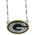Green Bay Packers Crystal Logo Necklace - This is a must-have fan accessory with a delicately beautiful 16 inch silver plated chain and eye-catching, large Green Bay Packers charm with tons of sparkling team colored crystals. The trendy look is finished with detailed team colors and the chain can be adjusted with a 2 inch extender. The bold look makes a statement on game day and the classic style is chic enough for everyday.