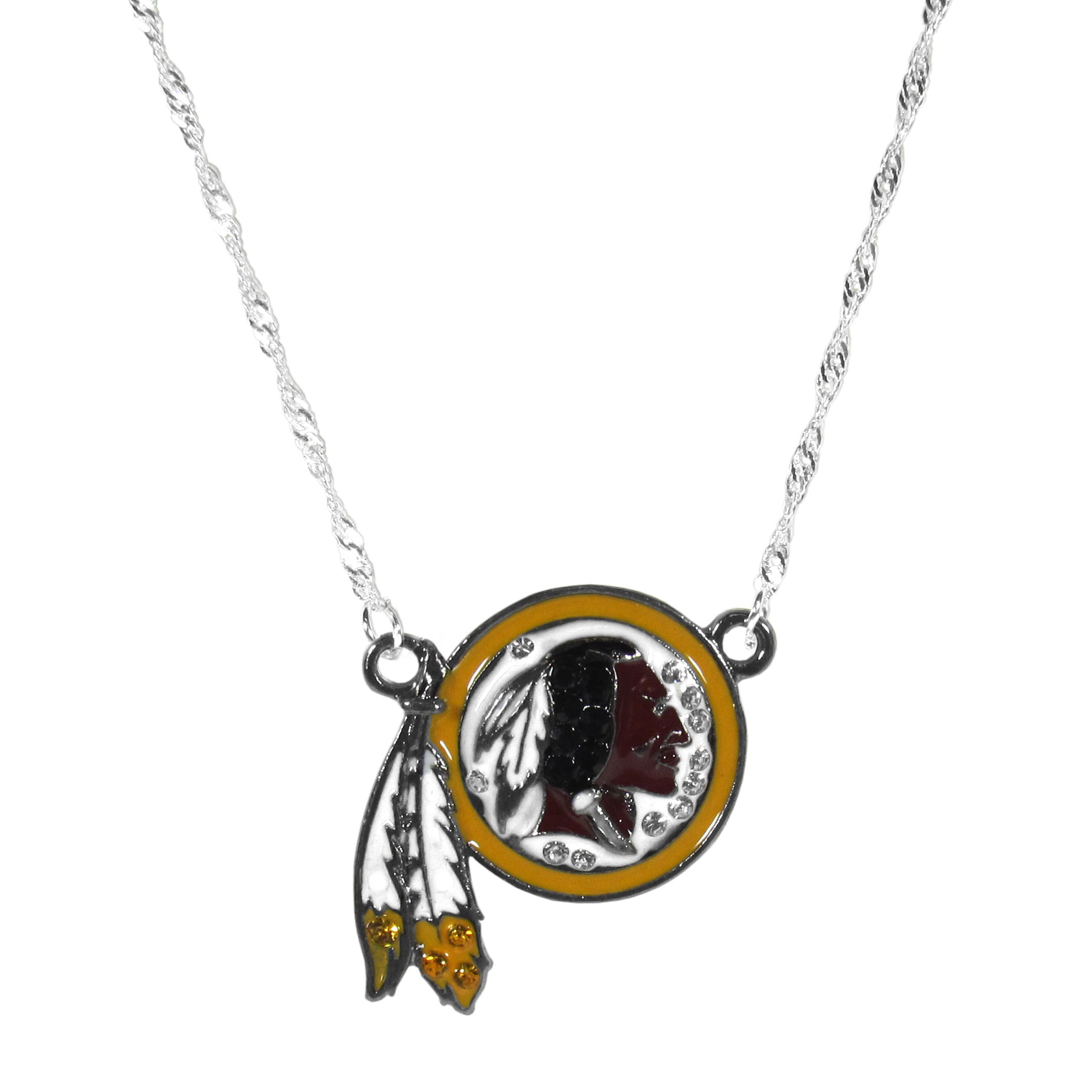 Washington Redskins Crystal Logo Necklace - This is a must-have fan accessory with a delicately beautiful 16 inch silver plated chain and eye-catching, large Washington Redskins charm with tons of sparkling team colored crystals. The trendy look is finished with detailed team colors and the chain can be adjusted with a 2 inch extender. The bold look makes a statement on game day and the classic style is chic enough for everyday.