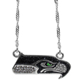 Seattle Seahawks Crystal Logo Necklace - This is a must-have fan accessory with a delicately beautiful 16 inch silver plated chain and eye-catching, large Seattle Seahawks charm with tons of sparkling team colored crystals. The trendy look is finished with detailed team colors and the chain can be adjusted with a 2 inch extender. The bold look makes a statement on game day and the classic style is chic enough for everyday.