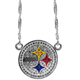 Pittsburgh Steelers Crystal Logo Necklace - This is a must-have fan accessory with a delicately beautiful 16 inch silver plated chain and eye-catching, large Pittsburgh Steelers charm with tons of sparkling team colored crystals. The trendy look is finished with detailed team colors and the chain can be adjusted with a 2 inch extender. The bold look makes a statement on game day and the classic style is chic enough for everyday.