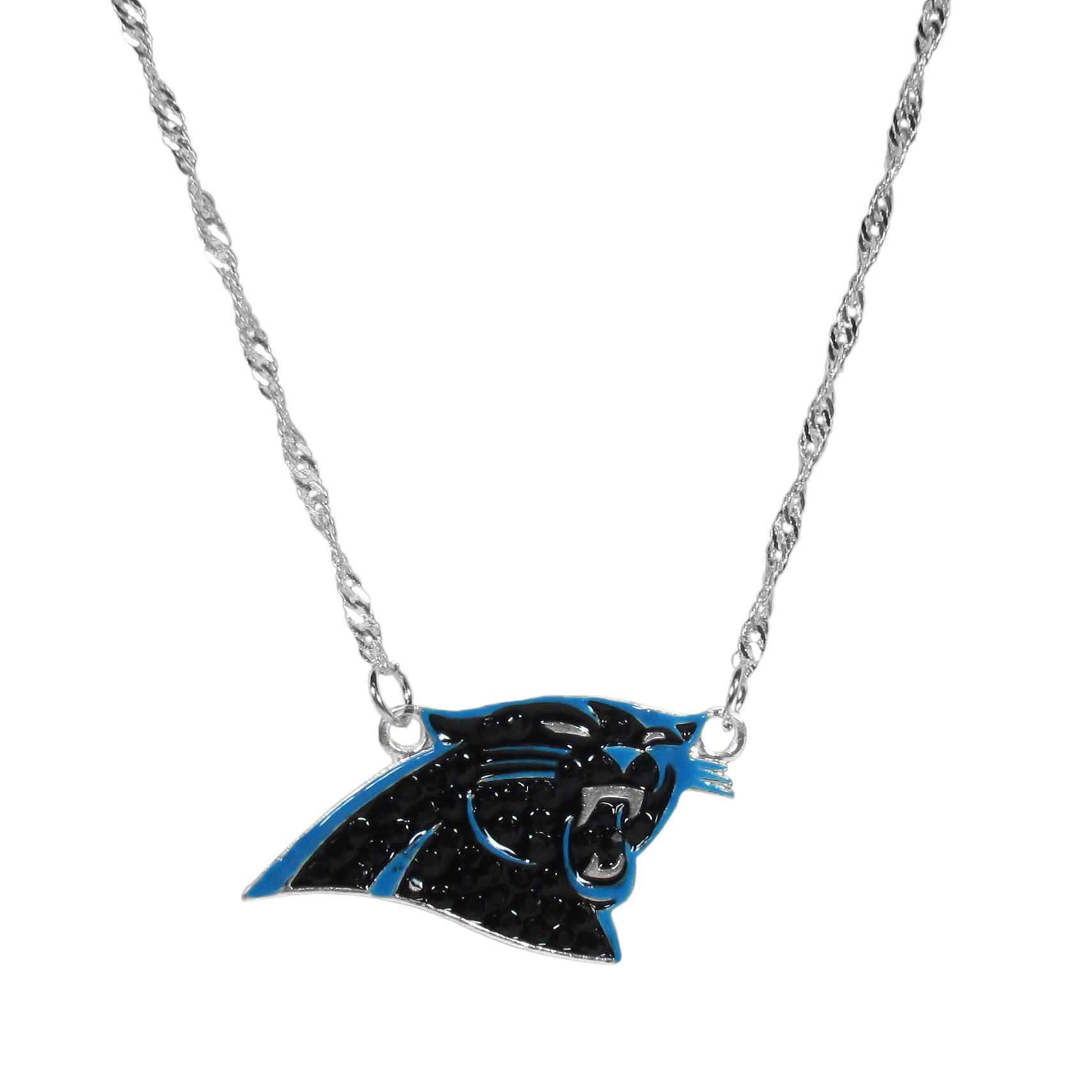 Carolina Panthers Crystal Logo Necklace - This is a must-have fan accessory with a delicately beautiful 16 inch silver plated chain and eye-catching, large Carolina Panthers charm with tons of sparkling team colored crystals. The trendy look is finished with detailed team colors and the chain can be adjusted with a 2 inch extender. The bold look makes a statement on game day and the classic style is chic enough for everyday.