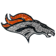Denver Broncos Crystal Pin - The Denver Broncos 2 inch pin is covered in team colored crystals on a silver plated painted background.