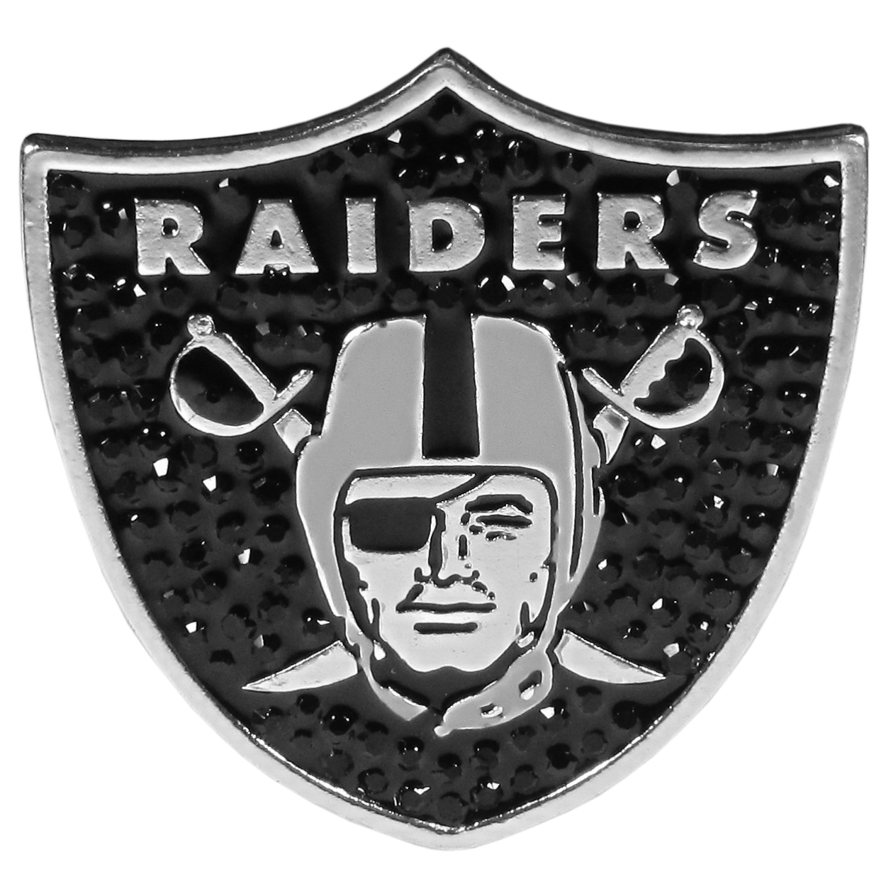 Oakland Raiders Crystal Pin - The Oakland Raiders 2 inch pin is covered in team colored crystals on a silver plated painted background.