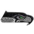 Seattle Seahawks Crystal Pin - The Seattle Seahawks 2 inch pin is covered in team colored crystals on a silver plated painted background.