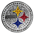 Pittsburgh Steelers Crystal Pin - The Pittsburgh Steelers 2 inch pin is covered in team colored crystals on a silver plated painted background.