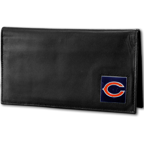 Chicago Bears Deluxe NFL Checkbook Cover - Officially licensed Chicago Bears Deluxe NFL Checkbook Cover is made of high quality leather and includes, card holder, clear ID window and inside zipper pocket for added storage. Packaged in a window box. Officially licensed NFL product Licensee: Siskiyou Buckle .com