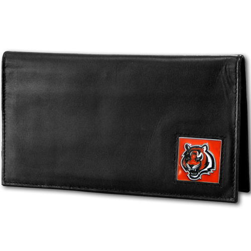 Cincinnati Bengals Deluxe NFL Checkbook Cover - Officially licensed Cincinnati Bengals Deluxe NFL Checkbook Cover is made of high quality leather and includes, card holder, clear ID window and inside zipper pocket for added storage. Packaged in a window box. Officially licensed NFL product Licensee: Siskiyou Buckle .com