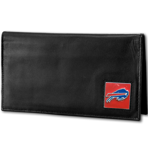 Buffalo Bills Deluxe NFL Checkbook Cover - Officially licensed Buffalo Bills Deluxe NFL Checkbook Cover is made of high quality leather and includes, card holder, clear ID window and inside zipper pocket for added storage. Packaged in a window box. Officially licensed NFL product Licensee: Siskiyou Buckle .com