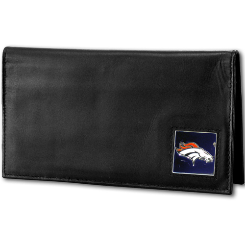 Denver Broncos Deluxe NFL Checkbook Cover - Officially licensed Denver Broncos Deluxe NFL Checkbook Cover is made of high quality leather and includes, card holder, clear ID window and inside zipper pocket for added storage.  Packaged in a window box. Officially licensed NFL product Licensee: Siskiyou Buckle Thank you for visiting CrazedOutSports.com