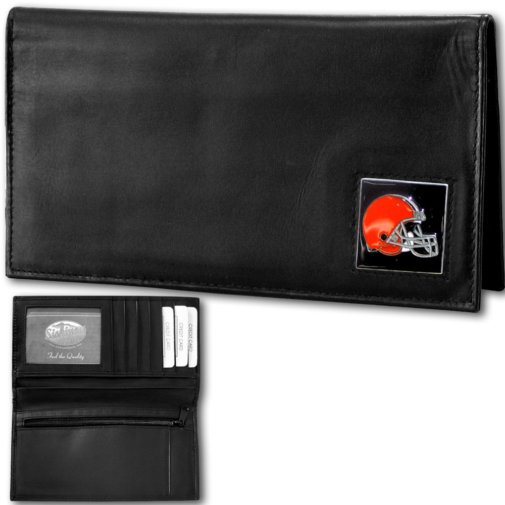 Siskiyou Cleveland Browns Deluxe Leather Checkbook Cover Packaged in Gift Box