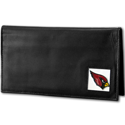 Arizona Cardinals Deluxe NFL Checkbook Cover - Officially licensed Arizona Cardinals Deluxe NFL Checkbook Cover is made of high quality leather and includes, card holder, clear ID window and inside zipper pocket for added storage.  Packaged in a window box. Officially licensed NFL product Licensee: Siskiyou Buckle .com