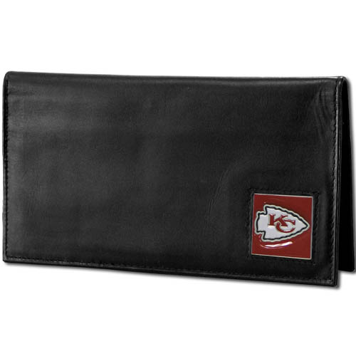 Kansas City Chiefs Deluxe NFL Checkbook Cover - Officially licensed Kansas City Chiefs Deluxe NFL Checkbook Cover is made of high quality leather and includes, card holder, clear ID window and inside zipper pocket for added storage.  Packaged in a window box. Officially licensed NFL product Licensee: Siskiyou Buckle Thank you for visiting CrazedOutSports.com