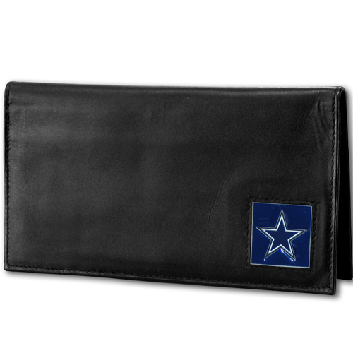 Dallas Cowboys Deluxe NFL Checkbook Cover - Officially licensed Dallas Cowboys Deluxe NFL Checkbook Cover is made of high quality leather and includes, card holder, clear ID window and inside zipper pocket for added storage.  Packaged in a window box. Officially licensed NFL product Licensee: Siskiyou Buckle .com