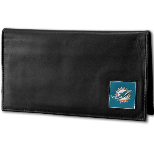 Miami Dolphins Deluxe NFL Checkbook Cover - Officially licensed Miami Dolphins Deluxe NFL Checkbook Cover is made of high quality leather and includes, card holder, clear ID window and inside zipper pocket for added storage.  Packaged in a window box. Officially licensed NFL product Licensee: Siskiyou Buckle Thank you for visiting CrazedOutSports.com