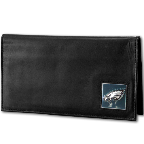 Philadelphia Eagles Deluxe NFL Checkbook Cover - Officially licensed Philadelphia Eagles Deluxe NFL Checkbook Cover is made of high quality leather and includes, card holder, clear ID window and inside zipper pocket for added storage.  Packaged in a window box. Officially licensed NFL product Licensee: Siskiyou Buckle .com