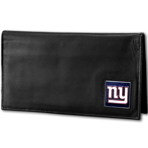 New York Giants Deluxe NFL Checkbook Cover - Officially licensed New York Giants Deluxe NFL Checkbook Cover is made of high quality leather and includes, card holder, clear ID window and inside zipper pocket for added storage. Packaged in a window box. Officially licensed NFL product Licensee: Siskiyou Buckle .com
