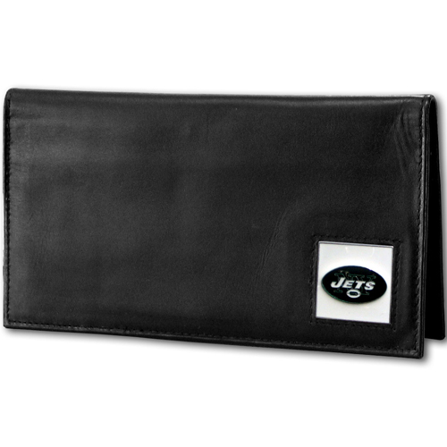 New York Jets Deluxe NFL Checkbook Cover - Officially licensed New York Jets Deluxe NFL Checkbook Cover is made of high quality leather and includes, card holder, clear ID window and inside zipper pocket for added storage. Packaged in a window box. Officially licensed NFL product Licensee: Siskiyou Buckle Thank you for visiting CrazedOutSports.com