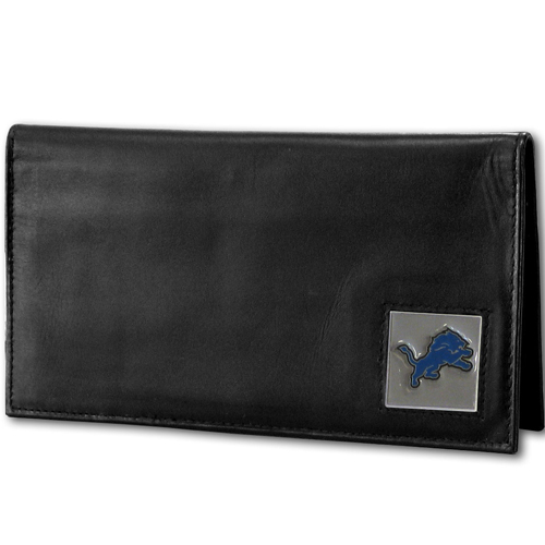 Detroit Lions Deluxe NFL Checkbook Cover - Officially licensed Detroit Lions Deluxe NFL Checkbook Cover is made of high quality leather and includes, card holder, clear ID window and inside zipper pocket for added storage.  Packaged in a window box. Officially licensed NFL product Licensee: Siskiyou Buckle .com
