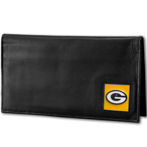 Green Bay Packers Deluxe NFL Checkbook Cover - Officially licensed Green Bay Packers Deluxe NFL Checkbook Cover is made of high quality leather and includes, card holder, clear ID window and inside zipper pocket for added storage. Packaged in a window box. Officially licensed NFL product Licensee: Siskiyou Buckle .com