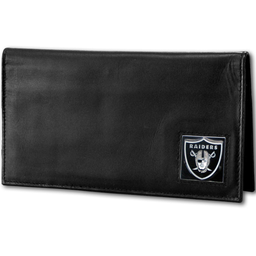 Oakland Raiders Deluxe NFL Checkbook Cover - Officially licensed Oakland Raiders Deluxe NFL Checkbook Cover is made of high quality leather and includes, card holder, clear ID window and inside zipper pocket for added storage. Packaged in a window box. Officially licensed NFL product Licensee: Siskiyou Buckle Thank you for visiting CrazedOutSports.com