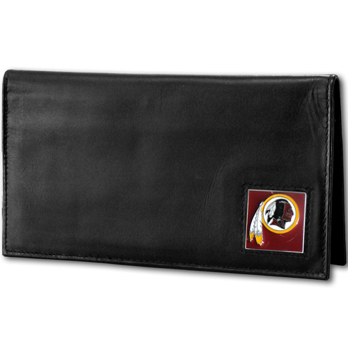 Washington Redskins Deluxe NFL Checkbook Cover - Officially licensed Washington Redskins Deluxe NFL Checkbook Cover is made of high quality leather and includes, card holder, clear ID window and inside zipper pocket for added storage. Packaged in a window box. Officially licensed NFL product Licensee: Siskiyou Buckle Thank you for visiting CrazedOutSports.com