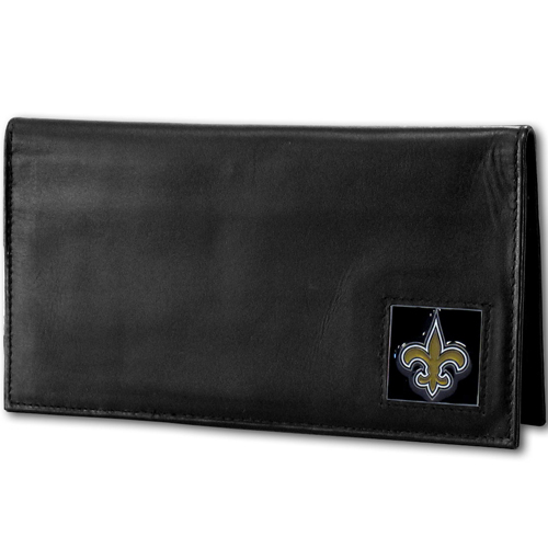 New Orleans Saints Deluxe NFL Checkbook Cover - Officially licensed New Orleans Saints Deluxe NFL Checkbook Cover is made of high quality leather and includes, card holder, clear ID window and inside zipper pocket for added storage. Packaged in a window box. Officially licensed NFL product Licensee: Siskiyou Buckle Thank you for visiting CrazedOutSports.com