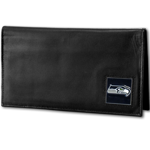 Seattle Seahawks Deluxe NFL Checkbook Cover - Officially licensed Seattle Seahawks Deluxe NFL Checkbook Cover is made of high quality leather and includes, card holder, clear ID window and inside zipper pocket for added storage. Packaged in a window box. Officially licensed NFL product Licensee: Siskiyou Buckle .com