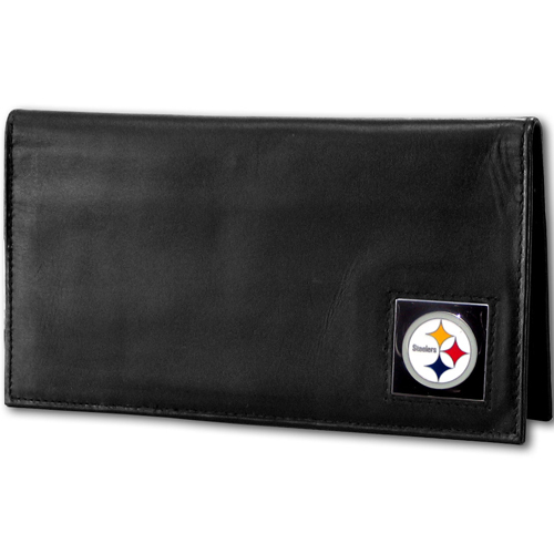 Pittsburgh Steelers Deluxe NFL Checkbook Cover - Officially licensed Pittsburgh Steelers Deluxe NFL Checkbook Cover is made of high quality leather and includes, card holder, clear ID window and inside zipper pocket for added storage. Packaged in a window box. Officially licensed NFL product Licensee: Siskiyou Buckle Thank you for visiting CrazedOutSports.com