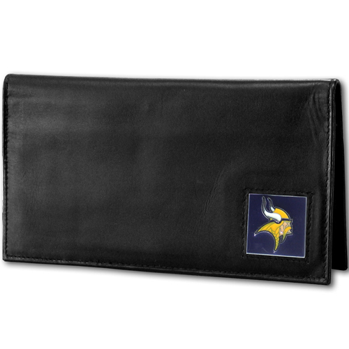 Minnesota Vikings Deluxe NFL Checkbook Cover - Officially licensed Minnesota Vikings Deluxe NFL Checkbook Cover is made of high quality leather and includes, card holder, clear ID window and inside zipper pocket for added storage. Packaged in a window box. Officially licensed NFL product Licensee: Siskiyou Buckle .com