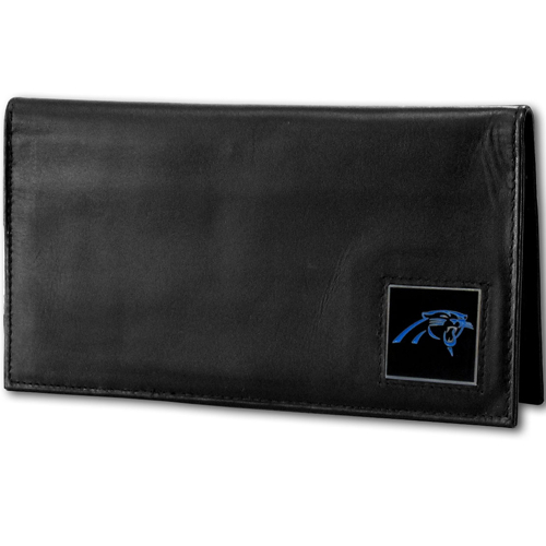 Carolina Panthers Deluxe NFL Checkbook Cover - Officially licensed Carolina Panthers Deluxe NFL Checkbook Cover is made of high quality leather and includes, card holder, clear ID window and inside zipper pocket for added storage.  Packaged in a window box. Officially licensed NFL product Licensee: Siskiyou Buckle Thank you for visiting CrazedOutSports.com