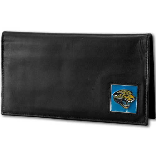 Jacksonville Jaguars Deluxe NFL Checkbook Cover - Officially licensed Jacksonville Jaguars Deluxe NFL Checkbook Cover is made of high quality leather and includes, card holder, clear ID window and inside zipper pocket for added storage. Packaged in a window box. Officially licensed NFL product Licensee: Siskiyou Buckle Thank you for visiting CrazedOutSports.com