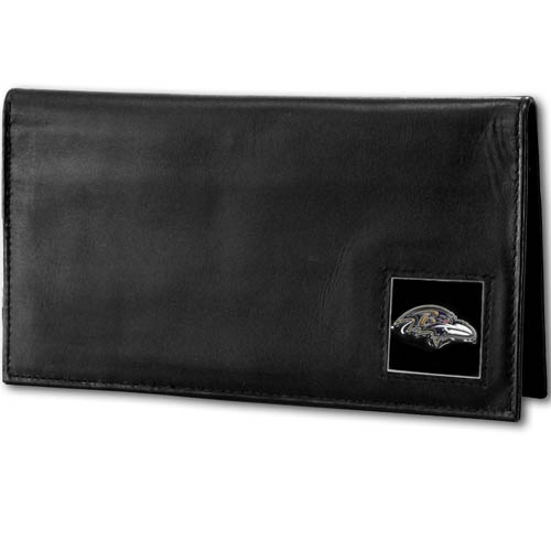 Baltimore Ravens Deluxe NFL Checkbook Cover - Officially licensed Baltimore Ravens Deluxe NFL Checkbook Cover is made of high quality leather and includes, card holder, clear ID window and inside zipper pocket for added storage. Packaged in a window box. Officially licensed NFL product Licensee: Siskiyou Buckle Thank you for visiting CrazedOutSports.com