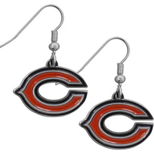 Chicago Bears Chrome Dangle Earrings - Officially licensed NFL Chicago Bears dangle earrings are fully cast with exceptional detail and a hand enameled finish. The Chicago Bears earrings have a high polish nickel free chrome finish and hypoallergenic fishhook posts. Officially licensed NFL product Licensee: Siskiyou Buckle .com