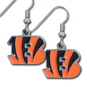 NFL Dangling Earrings - Cincinnati Bengals - Enameled zinc Cincinnati Bengals logo earrings with the NFL Cincinnati Bengals Logo. A great way to show off your Cincinnati Bengals spirit! Check out our entire licensed Cincinnati Bengals sports jewelry line! Officially licensed NFL product Licensee: Siskiyou Buckle Thank you for visiting CrazedOutSports.com